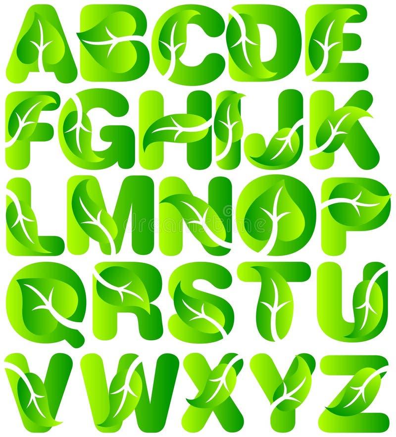 Alfabeto verde de la hoja de la ecología ilustración del vector