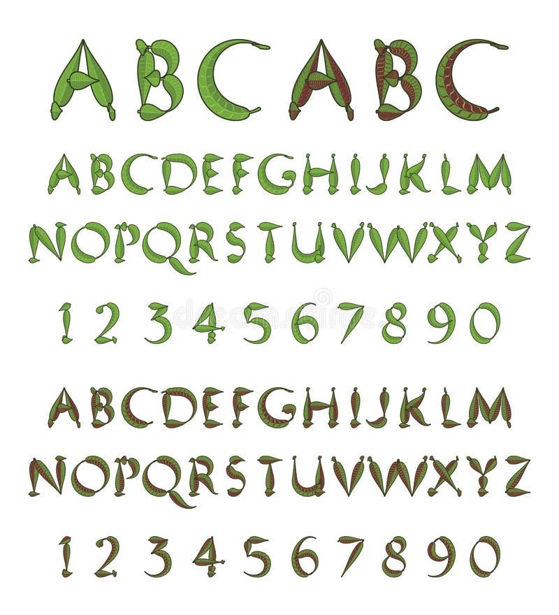Alfabeto verde de las hojas stock de ilustración