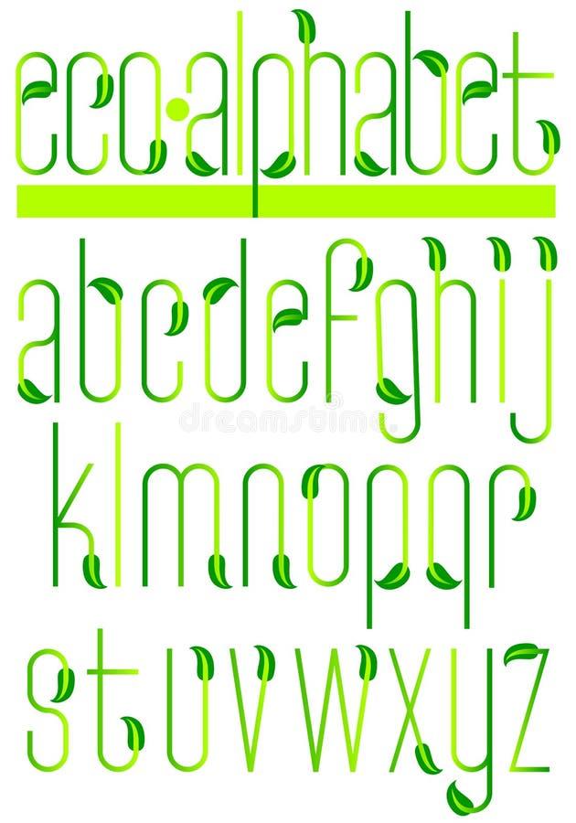 Alfabeto verde/EPS de la hoja de la ecología stock de ilustración