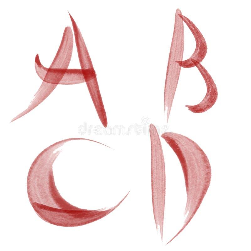 Alfabeto vermelho do watercolour ilustração royalty free