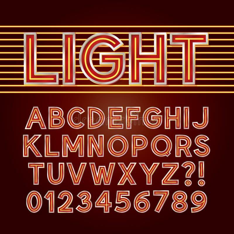 Alfabeto vermelho e números da luz de néon ilustração royalty free