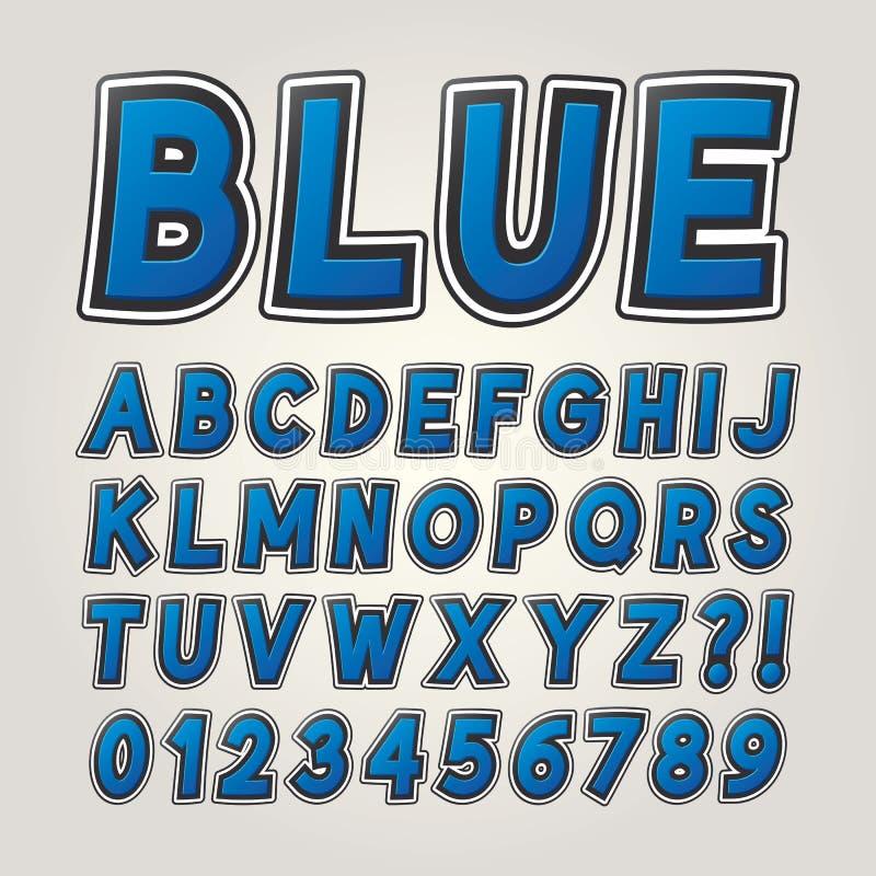 Alfabeto y números cómicos azules de la etiqueta engomada imagen de archivo
