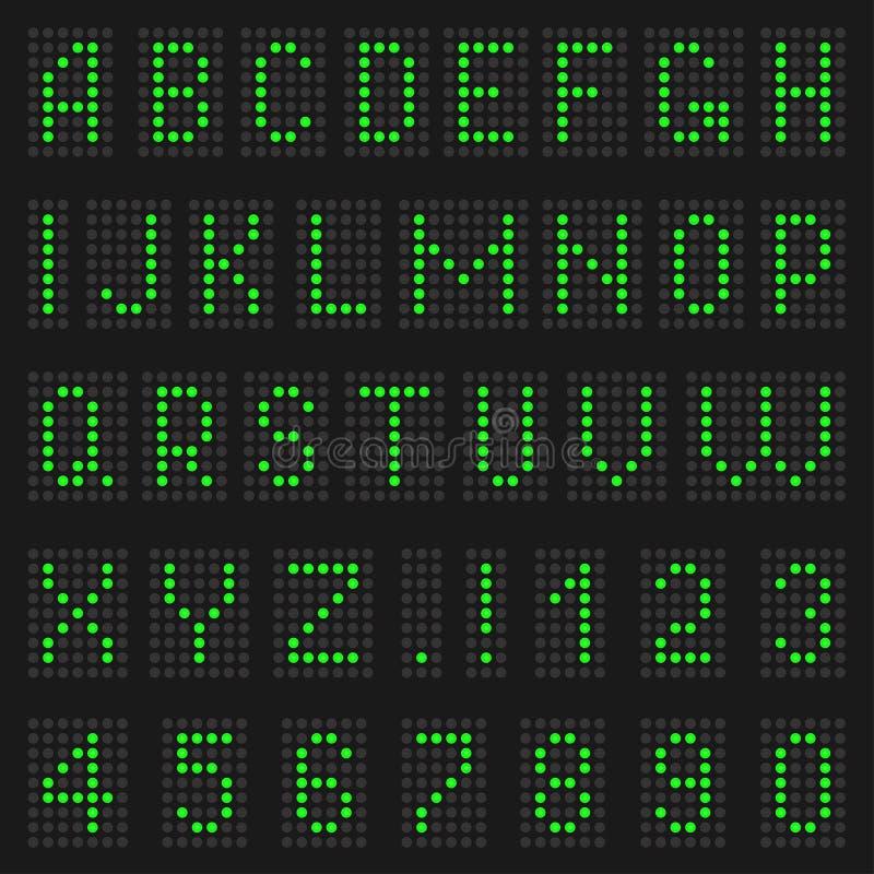 Alfabeto y números de luz ilustración del vector