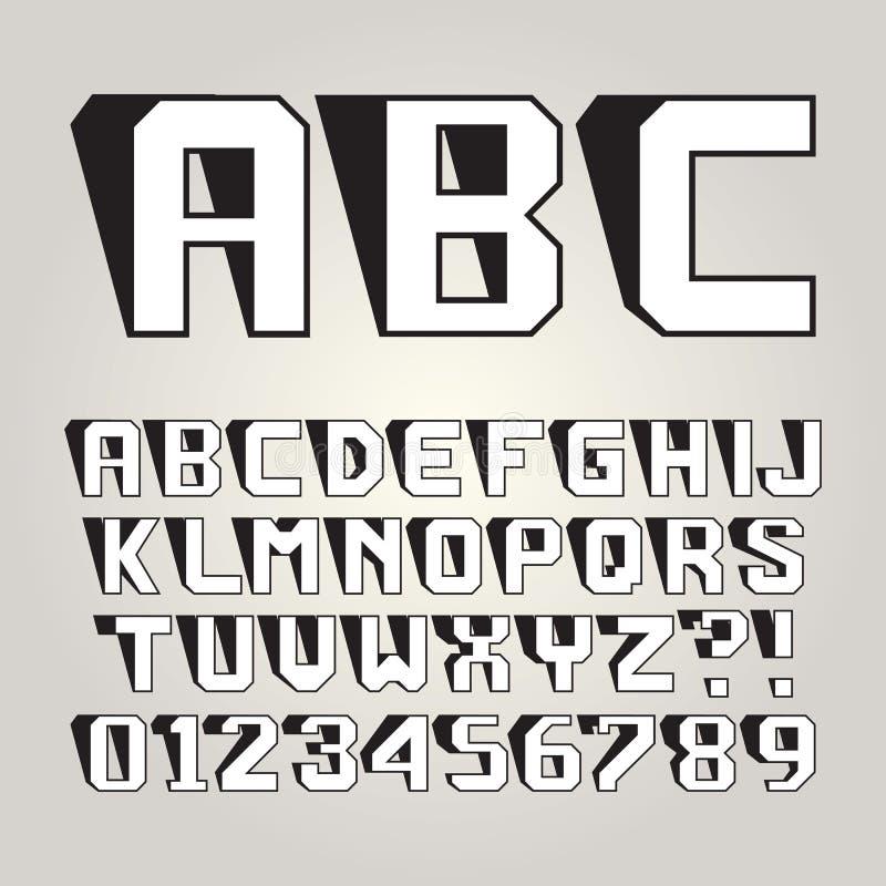 Alfabeto y números magros abstractos de la sombra imagen de archivo