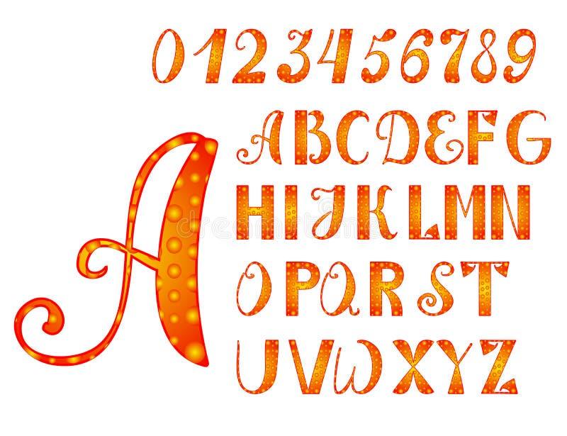 Alfabeto y números naranja-amarillos brillantes ilustración del vector
