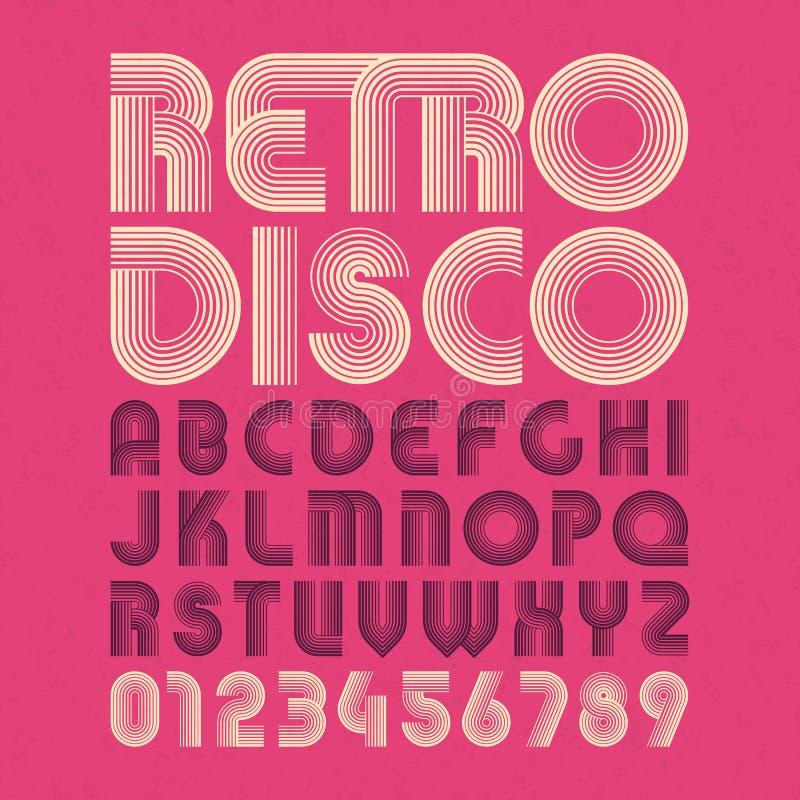 Alfabeto y números retros del estilo del disco stock de ilustración