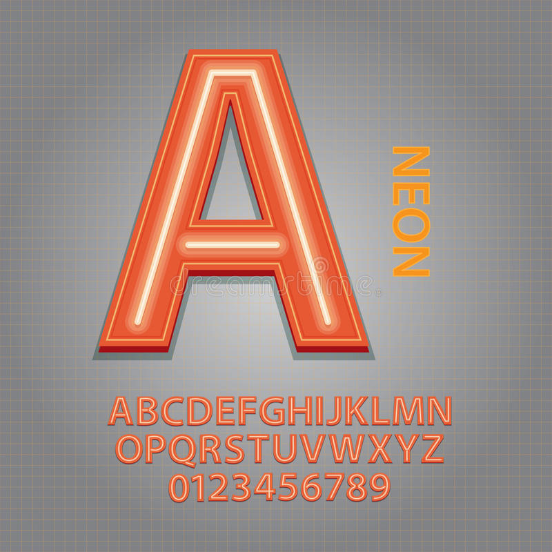 Alfabeto y vector de neón anaranjados de los números ilustración del vector