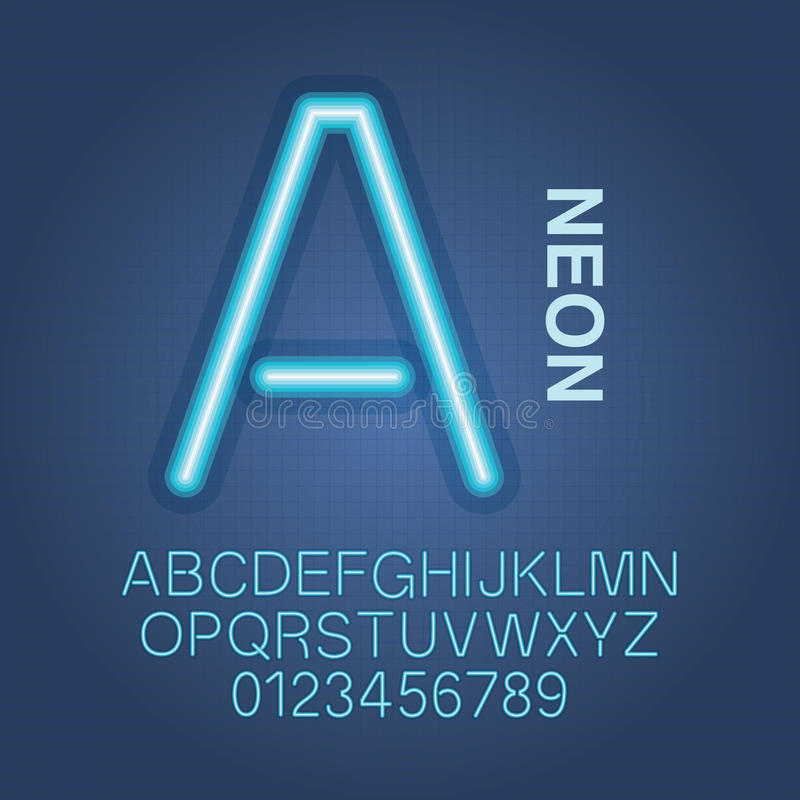 Alfabeto y vector de neón azules de los números ilustración del vector