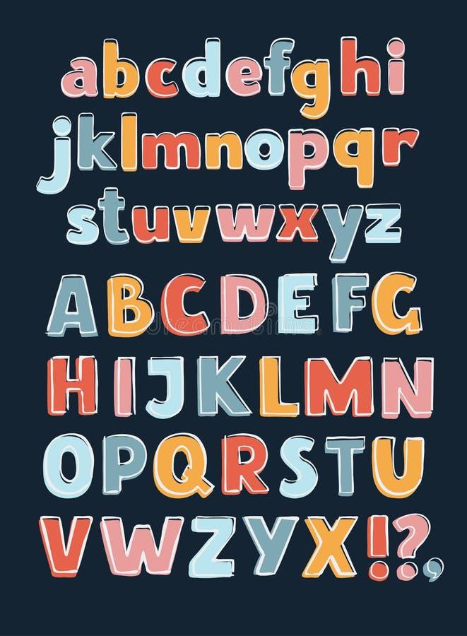 Alfabeto A-Z Outline Color stock de ilustración