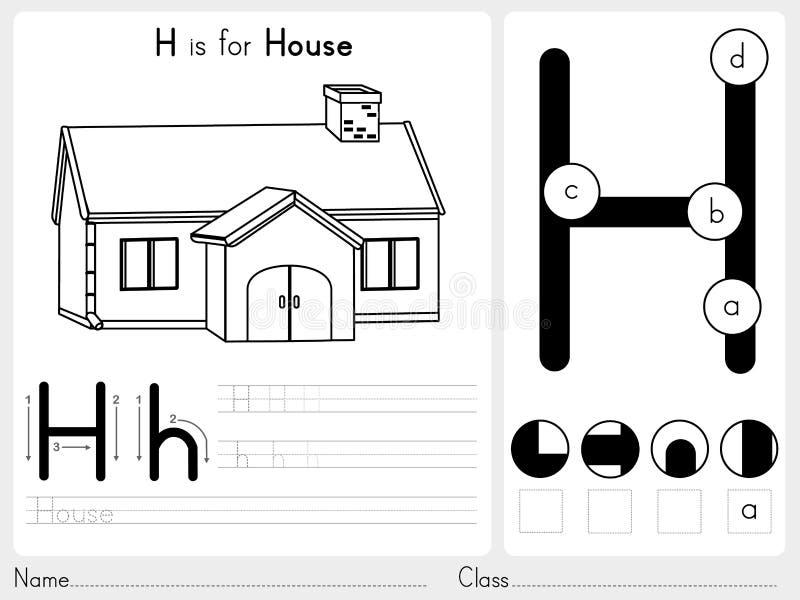 Alfabeto A-Z Tracing e folha do enigma, exercícios para crianças - livro para colorir ilustração stock