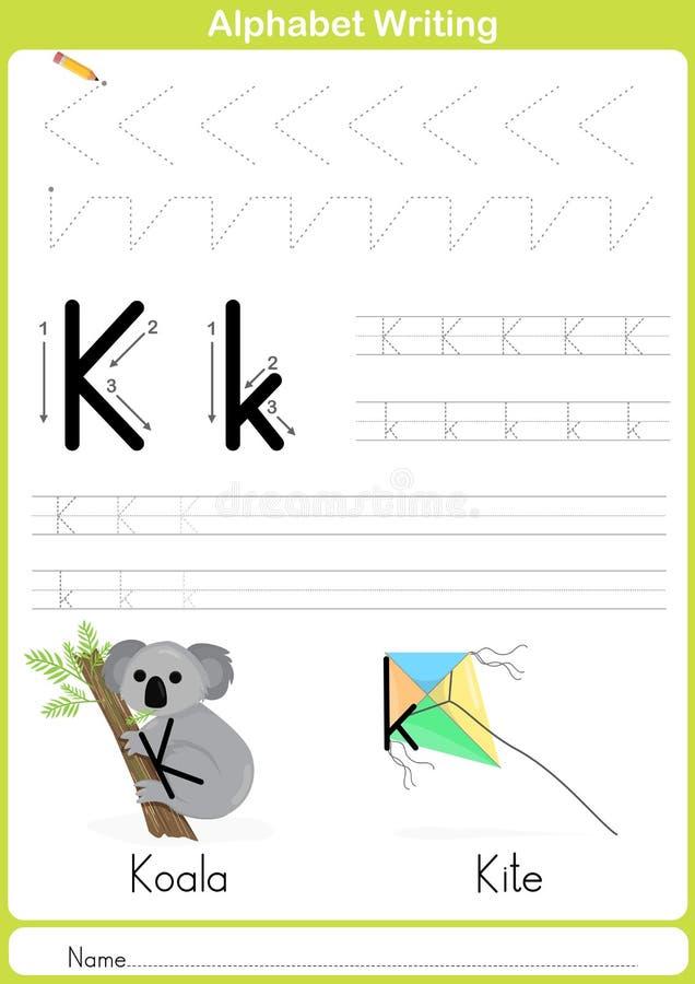 Alfabeto A-Z Tracing Worksheet, ejercicios para los niños - A4 de papel alistan para imprimir stock de ilustración