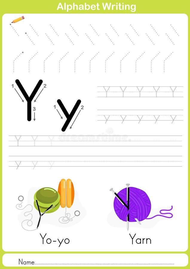 Alfabeto A-Z Tracing Worksheet, ejercicios para los niños - A4 de papel alistan para imprimir ilustración del vector