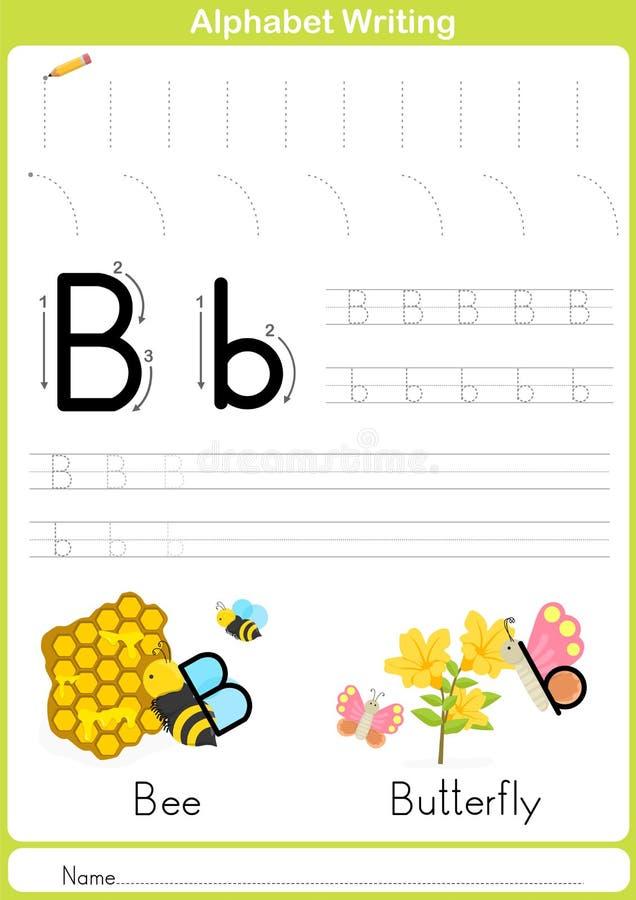 Alfabeto A-Z Tracing Worksheet, esercizi per i bambini - carta A4 pronta a stampare illustrazione di stock
