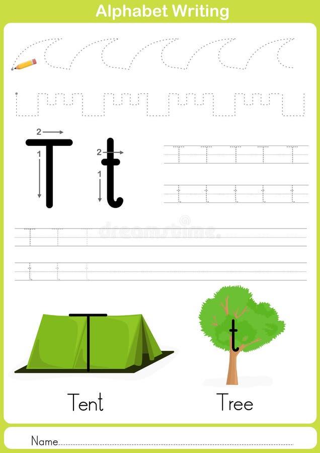 Alfabeto A-Z Tracing Worksheet, esercizi per i bambini - carta A4 pronta a stampare illustrazione vettoriale