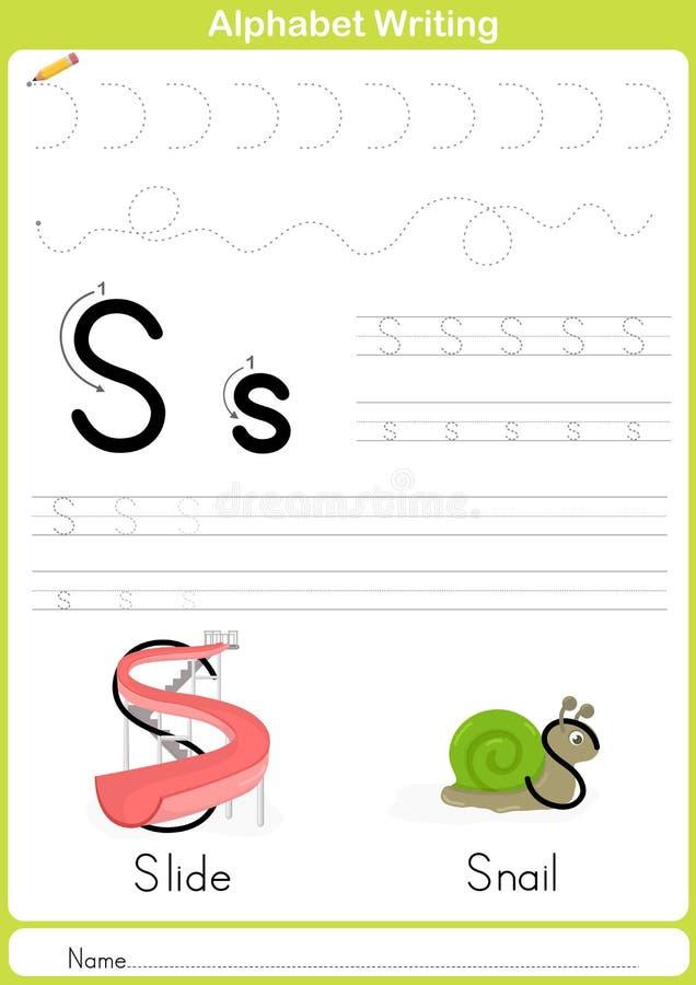 Alfabeto A-Z Tracing Worksheet, exercícios para crianças - A4 de papel aprontam-se para imprimir ilustração do vetor