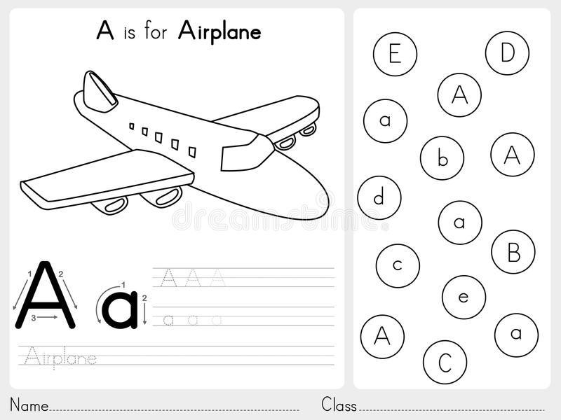 Alfabeto A-Z Tracing y hoja de trabajo del rompecabezas, ejercicios para los niños - libro de colorear stock de ilustración