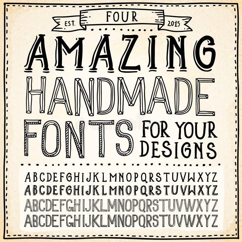 Alfabetos da escrita Fontes tiradas mão ilustração stock