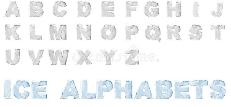 alfabetos do gelo 3D ajustados ilustração stock