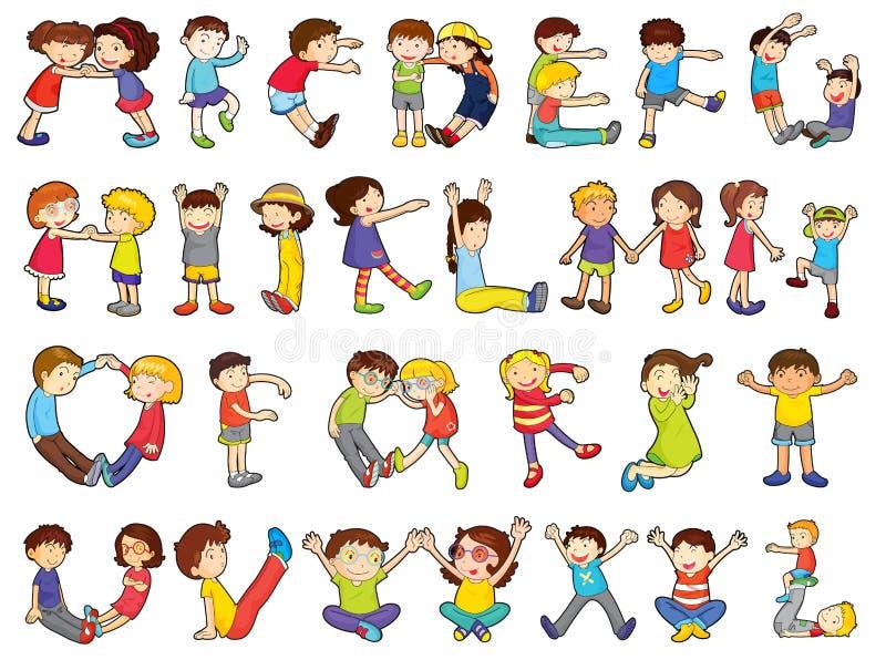 Alfabetos en actividades de los cabritos ilustración del vector