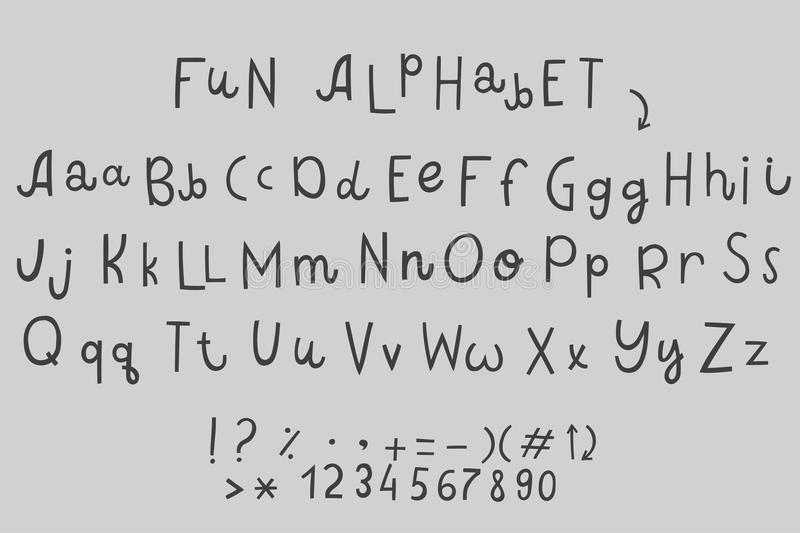 Alfabetos ingleses de la diferencia divertida de la historieta del vector stock de ilustración