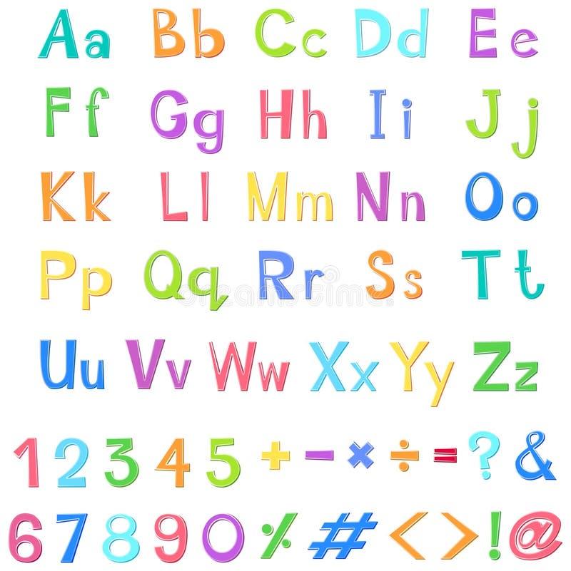 Alfabetos ingleses y números en muchos colores ilustración del vector