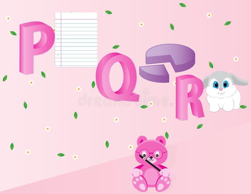 Alfabetos para los niños PQR fotos de archivo