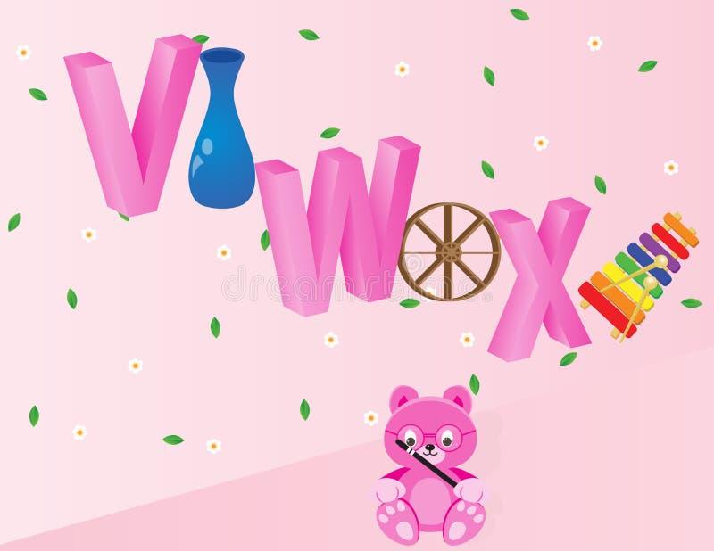 Alfabetos para los niños VWX fotografía de archivo