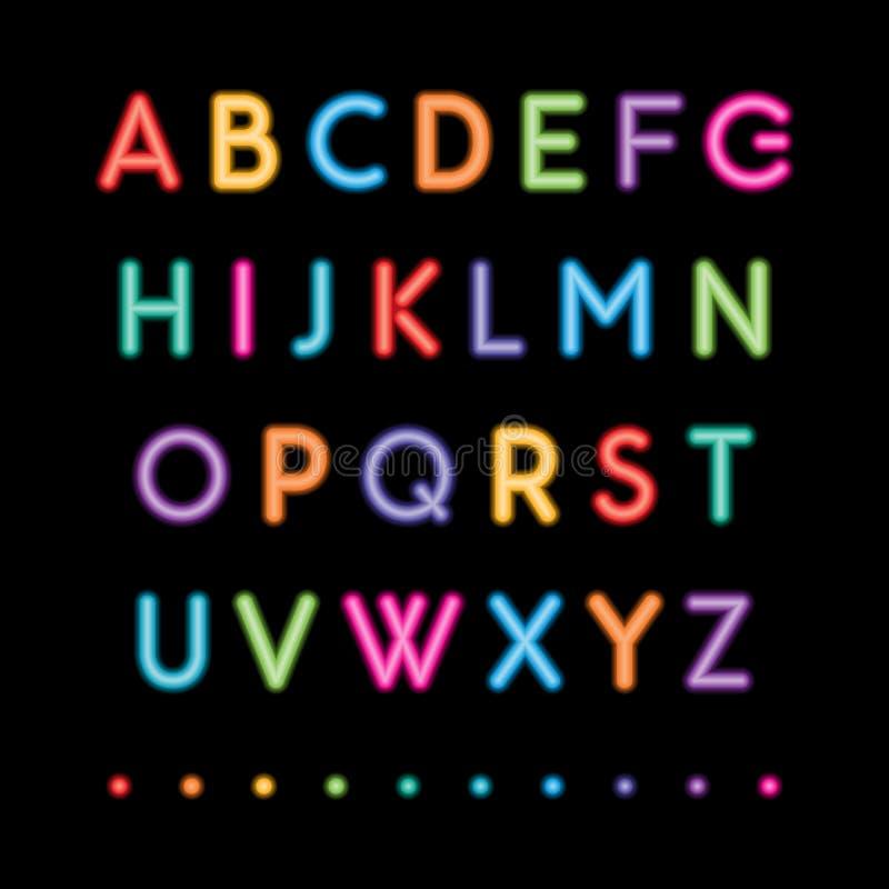 Alfabetos principais de néon ilustração stock