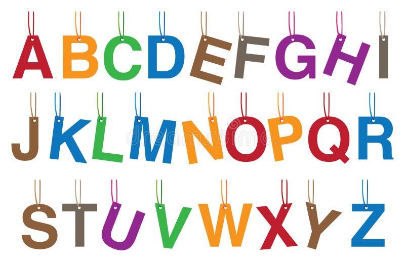Alfabetos que penduram a ilustração do vetor dos acessórios ilustração royalty free