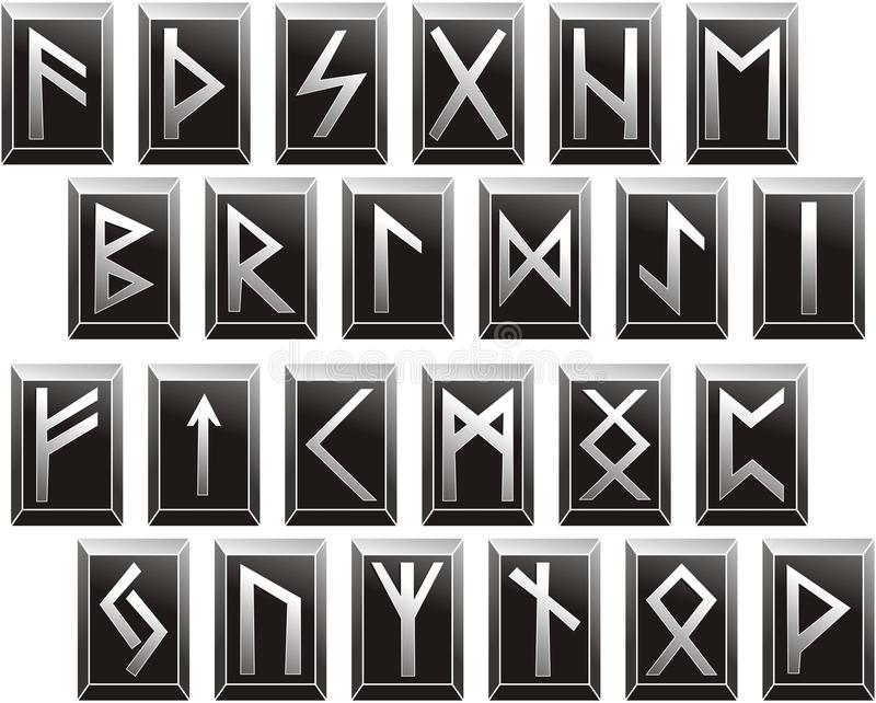 Alfabetos rúnicos medievales del vector de idiomas germánicas ilustración del vector