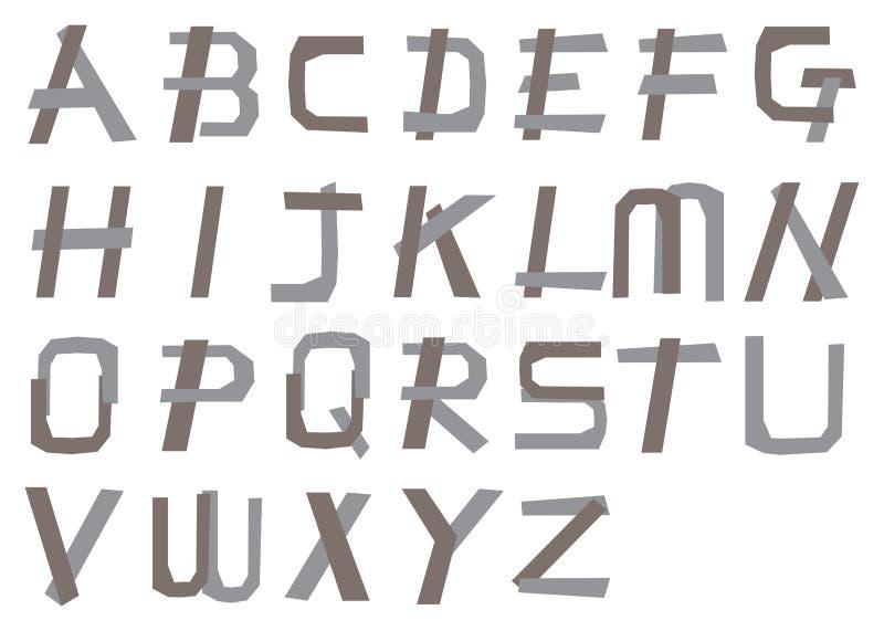 Alfabetos tiesos con hecho de diseño angular de la fuente de vector de las tiras libre illustration