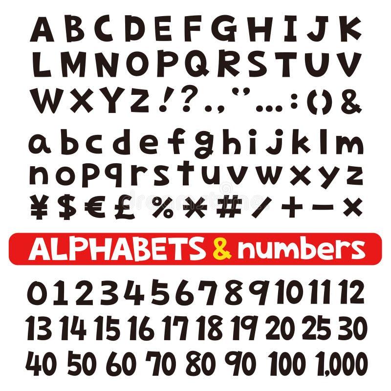 Alfabetos y números, fuentes ilustración del vector