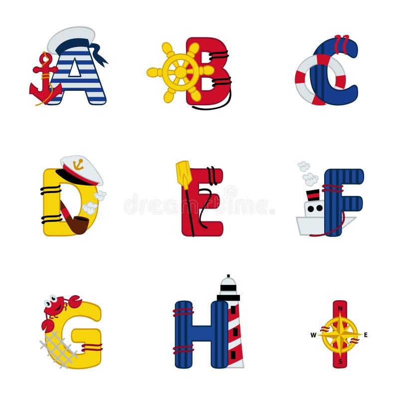 Alfabetoverzees van A aan I vector illustratie