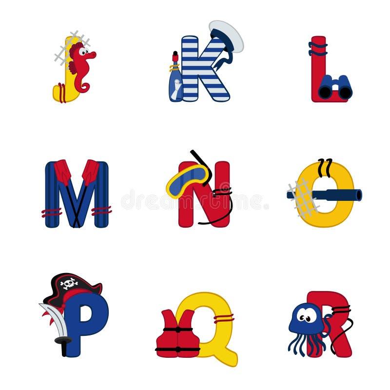 Alfabetoverzees van J aan R royalty-vrije illustratie