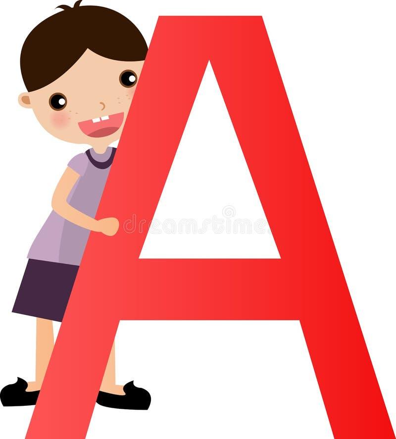alfabetpojkebokstav royaltyfri illustrationer