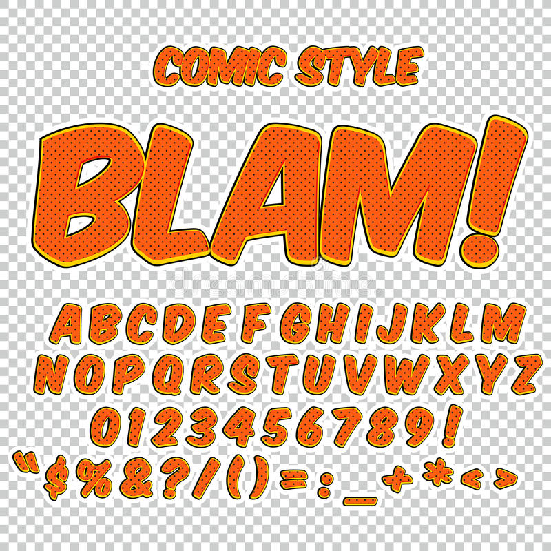 Alfabetsamlingsuppsättning Komisk pop Art Style Bokstäver, nummer och diagram för ungars illustrationer, websites, komiker stock illustrationer