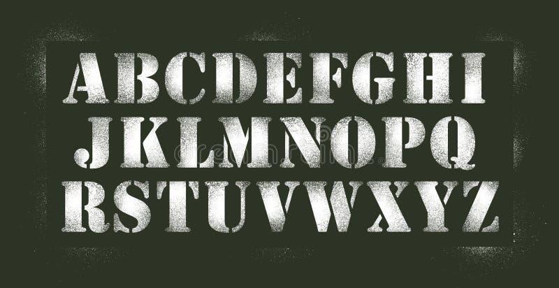 Alfabetstencilsprej vektor illustrationer