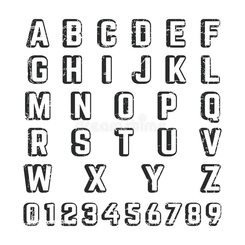 Alfabetstilsortsmall vektor illustrationer
