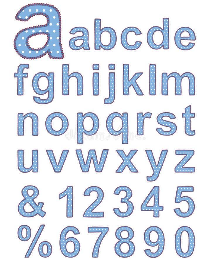 alfabettextil royaltyfri illustrationer