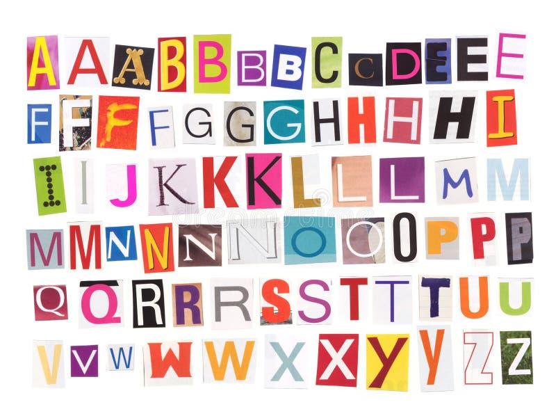 alfabetutklipptidskrift royaltyfri foto