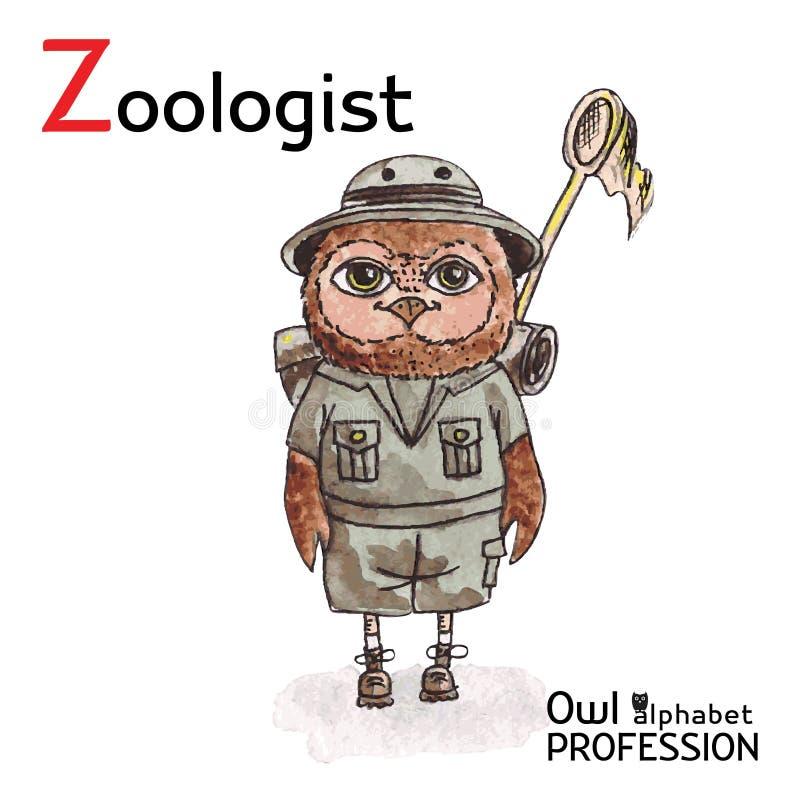 Alfabetyrken Owl Letter Z - zoolog royaltyfri illustrationer