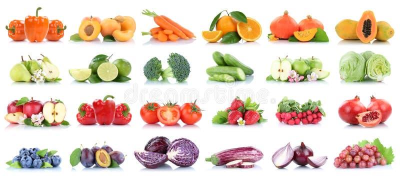 A alface alaranjada isolada coleção das peras dos tomates da maçã das frutas e legumes colore o fruto fresco imagens de stock