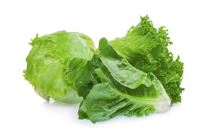 Alface verde fresca do bebê cos, do frillice e do iceberg isolada fotos de stock