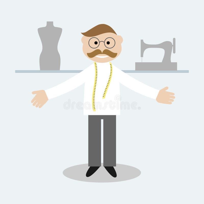 Alfaiate com a fita de medição no pescoço Alfaiate, manequim e máquina de costura ilustração royalty free