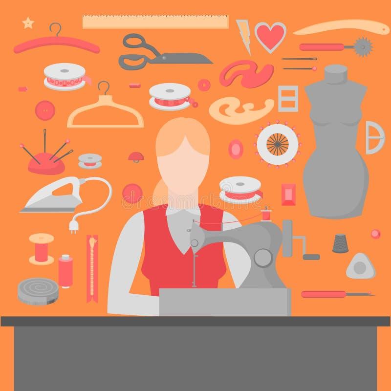 Alfaiate da mulher Equipamento de oficina da costura Elementos lisos do projeto da loja Costurar a costura da indústria utiliza f ilustração royalty free
