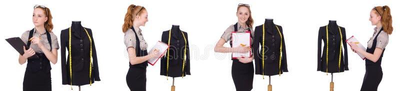 Alfaiate da mulher isolado no branco fotografia de stock