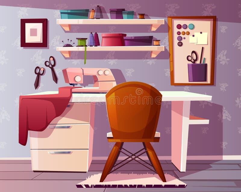 Alfaiate do vetor, sala da costureira Artesanato, área do bordado ilustração stock