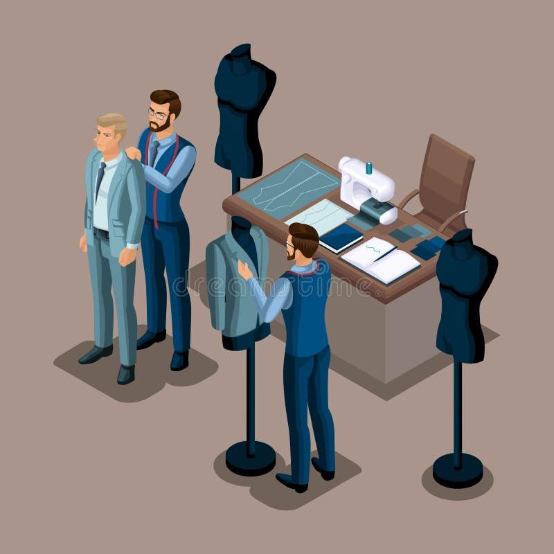 Alfaiate isométrico, a criação da roupa da qualidade a pedir, uma oficina, uma oficina costurar O empresário que trabalha para o  ilustração royalty free