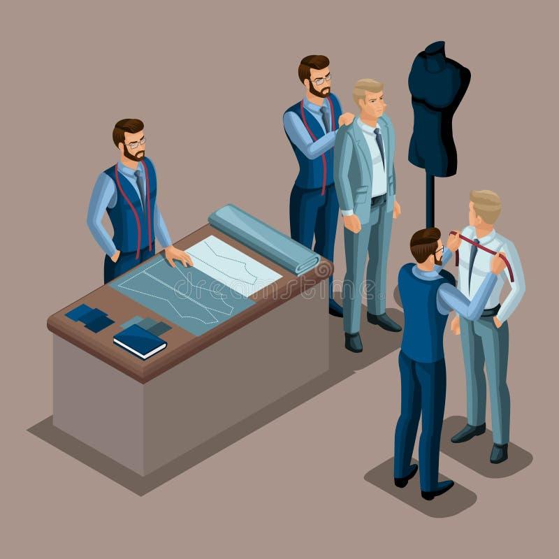 Alfaiate isométrico, a criação da roupa da qualidade a pedir, uma oficina, uma oficina costurar O empresário que trabalha para o  ilustração do vetor