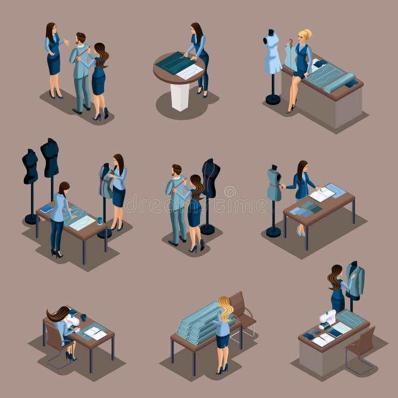Alfaiate isométrico da menina, um grupo de mini conceitos para o trabalho em uma oficina da costura Empresário, mulher de negócio ilustração royalty free